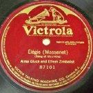 Single Side Record  Elegie Massenet 78 RPM
