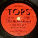 Tops Four Hits 78 RPM Record- Papa Loves Mambo