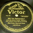 Will You Remember?  78 RPM