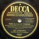 "The 3rd Man Theme  78 RPM on Decca 10"" record"