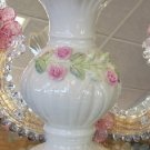 Belleek Ribbon Rose Pattern Vase