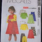 McCall's M4551 Sewing Pattern Toddlers Jumpers, tops & Pants