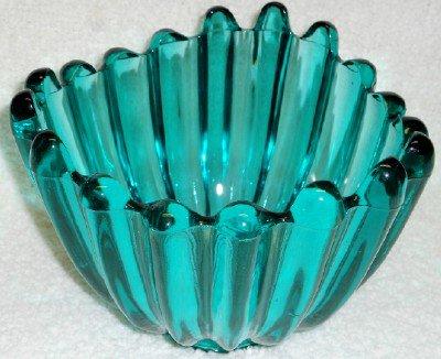 Ribbed Teal Art Glass Bowl