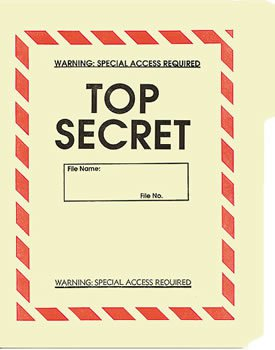 Government Top Secret File Folders New