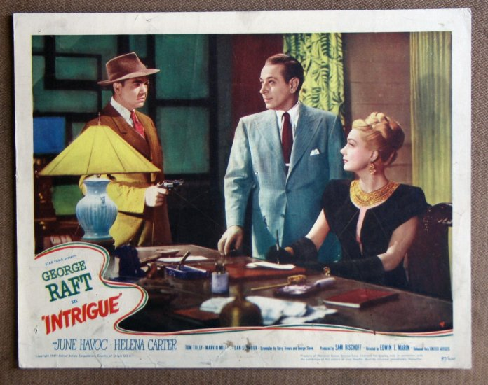 CC18 Intrigue GEORGE RAFT Orig 1947 Lobby Card