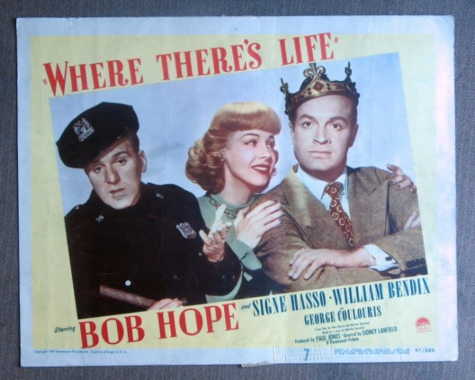 CF48 Where There's Life BOB HOPE Portrait original 1947 lobby card