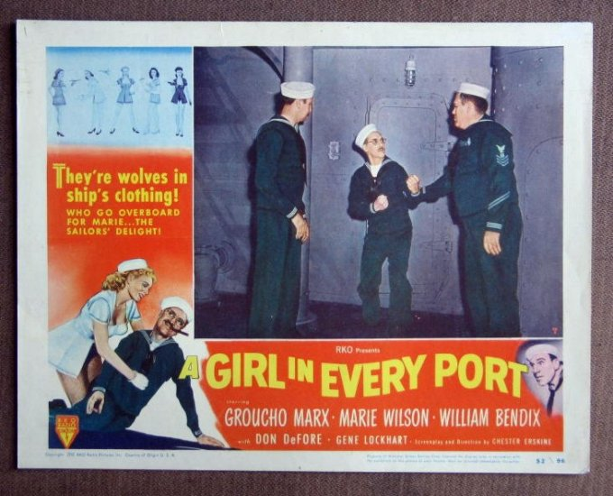 CD24 Girl In Every Port GROUCHO MARX 1952 original lobby card
