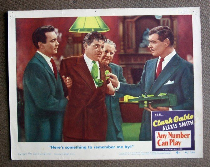 CP03 Any Number Can Play CLARK GABLE 19'49 lobby card