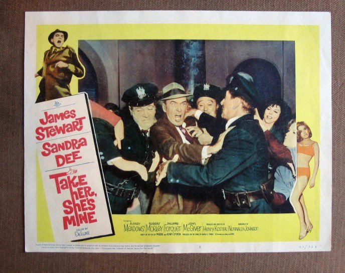 CQ44 Take Her She's Mine JAMES STEWART  Original 1963 Lobby Card
