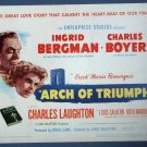 BE22 Arch of Triumph INGRID BERGMAN and BOYER TITLE Lobby Card