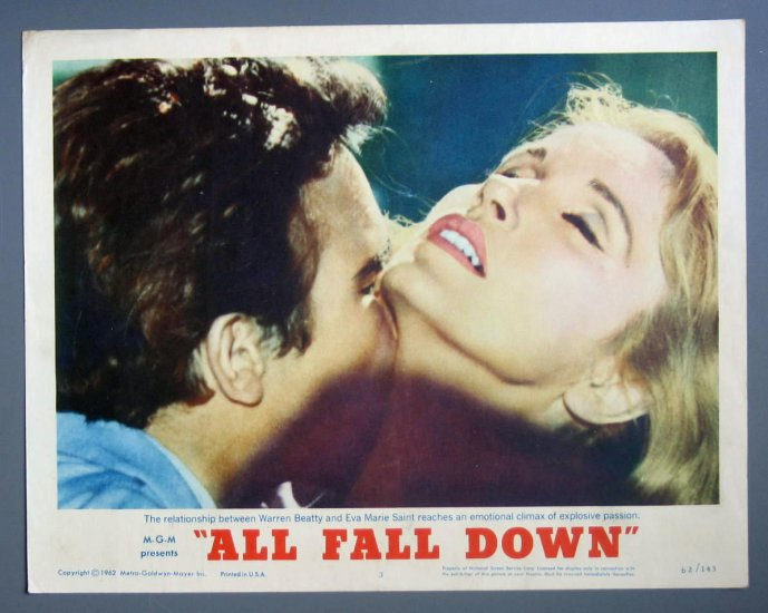 BJ08 All Fall Down WARREN BEATTY and EVA MARIE SAINT Original Lobby Card