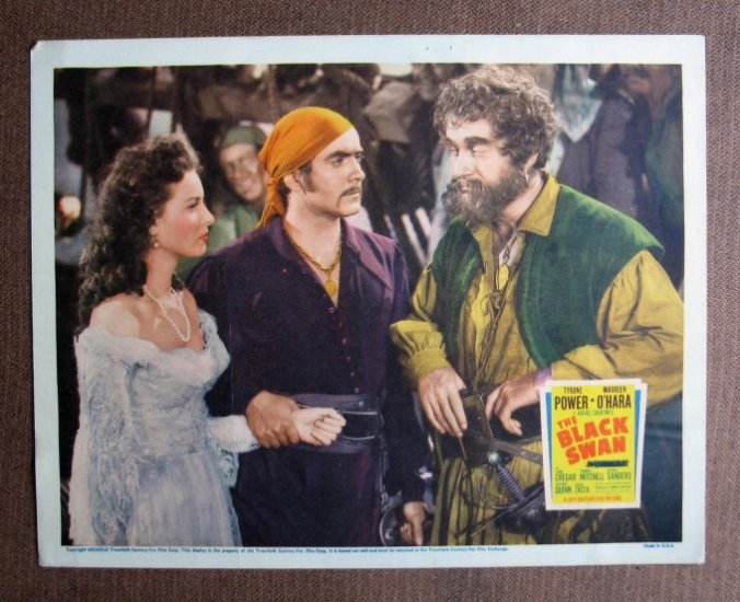 BL10 Black Swan TYRONE POWER and MAUREEN O'HARA Original 1942 Lobby Card