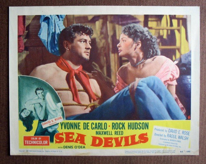 BL33 Sea Devils ROCK HUDSON and YVONNE De CARLO Lobby Card