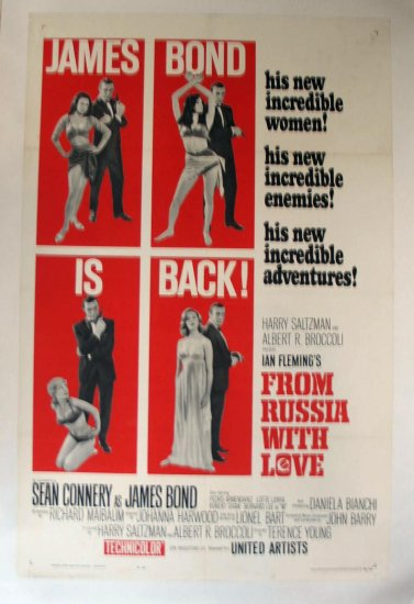 BP58 From Russia With Love SEAN CONNERY Original One Sheet LINEN-BACKED