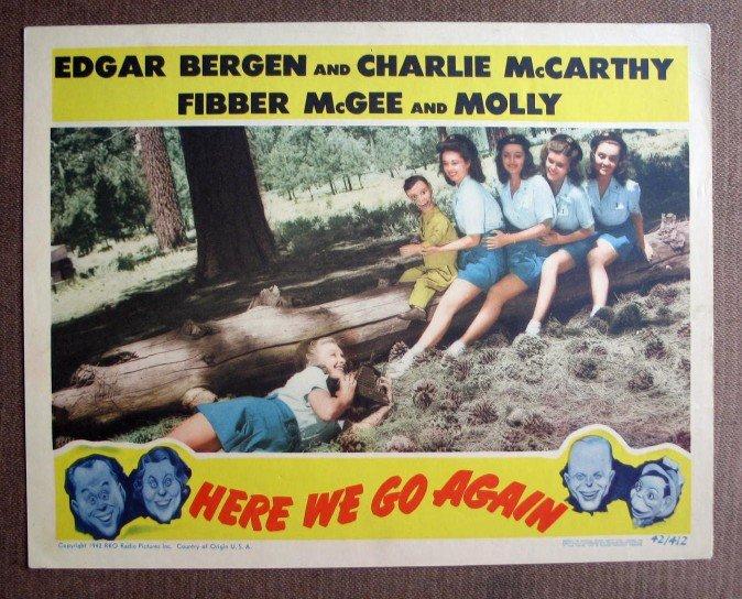 BQ29 Here We Go Again CHARLIE McCARTHY and EDGAR BERGEN 1942 Lobby Card