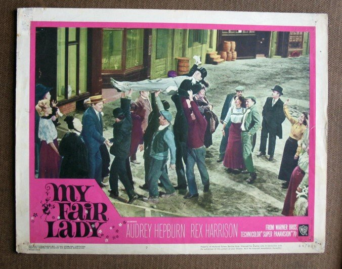 BY33 My Fair Lady STANLEY HOLLOWAY and AUDREY HEPBURN Original 1964 Lobby Card