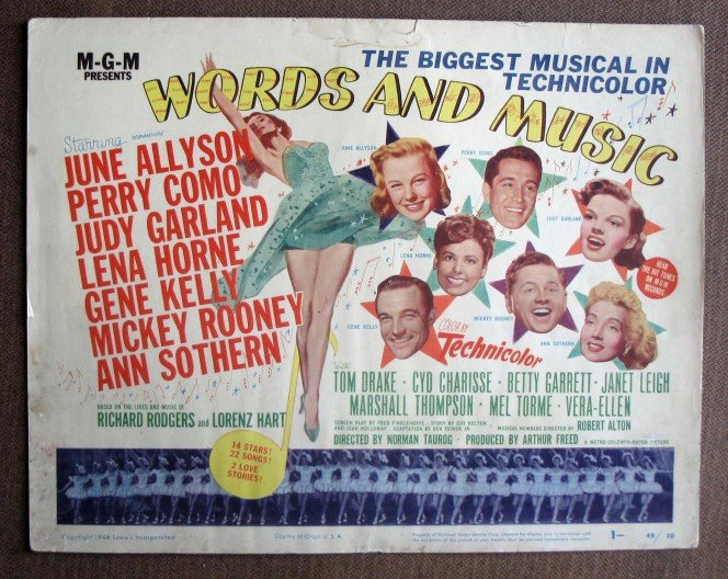 BZ50 Words & Music JUDY GARLAND and GENE KELLY Title Lobby Card