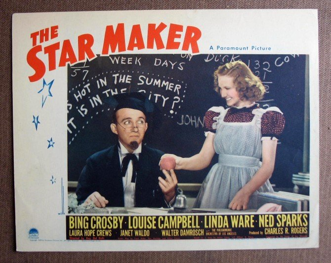 BL40 Star Maker BING CROSBY Original 1939 Lobby Card