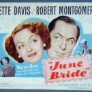 JUNE BRIDE Bette Davis orig 1948 title lobby card