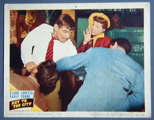 KEY TO THE CITY Gable/Loretta Young original '50 lobby card
