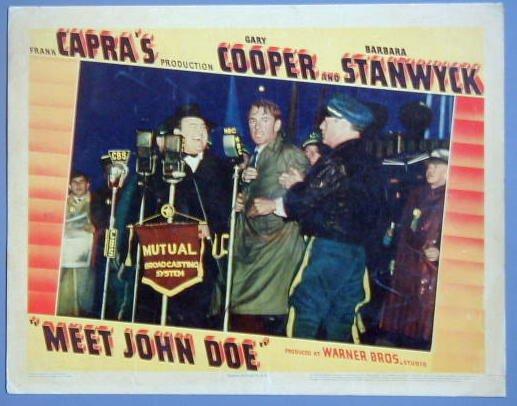 MEET JOHN DOE Gary Cooper  '41 LINEN PAPER lobby card