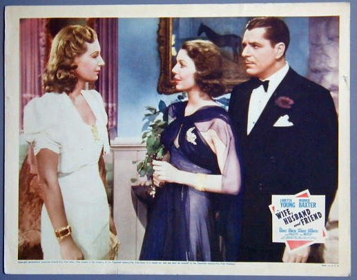 WIFE, HUSBAND and FRIEND Loretta Young original '39 Lobby Card