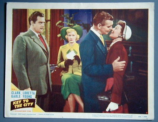 KEY TO THE CITY Clark Gable original 1950 lobby card