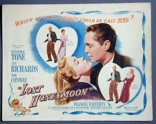 LOST HONEYMOON Franchot Tone original 1947 title card