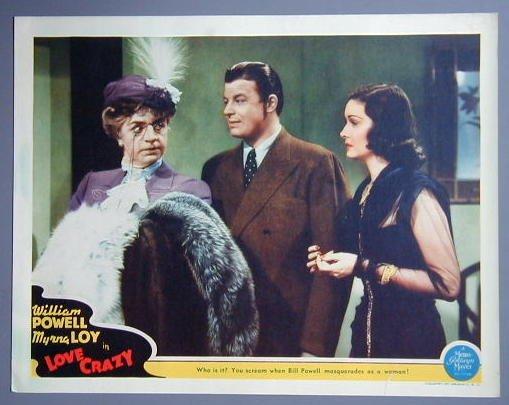 LOVE CRAZY William Powell/Myrna Loy original '41 lobby card