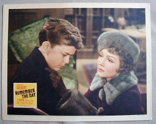 AD38 REMEMBER THE DAY Claudette Colbert orig 1941 LC