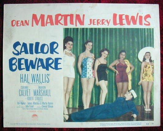 AF37 SAILOR BEWARE Jerry Lewis orig '52 lobby card