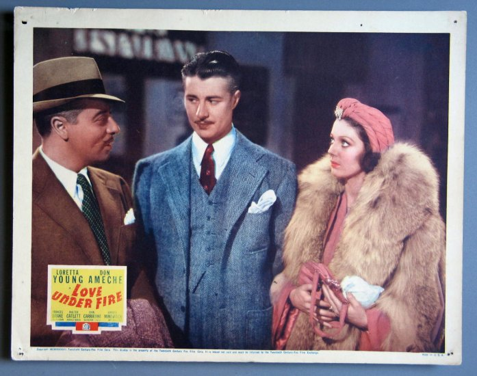 AW31 LOVE UNDER FIRE Loretta Young  Orig '37 Lobby Card