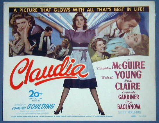 AT19 CLAUDIA Dorothy McGuire/Robert Young GREAT  '43 TC