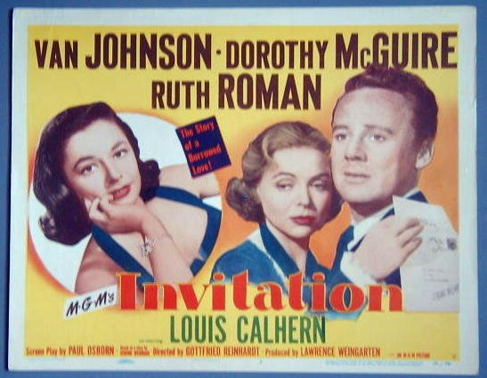 AT36 INVITATION Van Johnson/Dorothy McGuire orig '52 TC