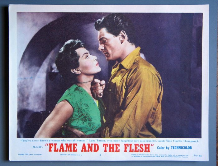 AW17 FLAME & THE FLESH Lana Turner Orig '54 Lobby Card