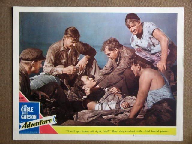 DV01 Adventure CLARK GABLE Original 1945 Lobby Card