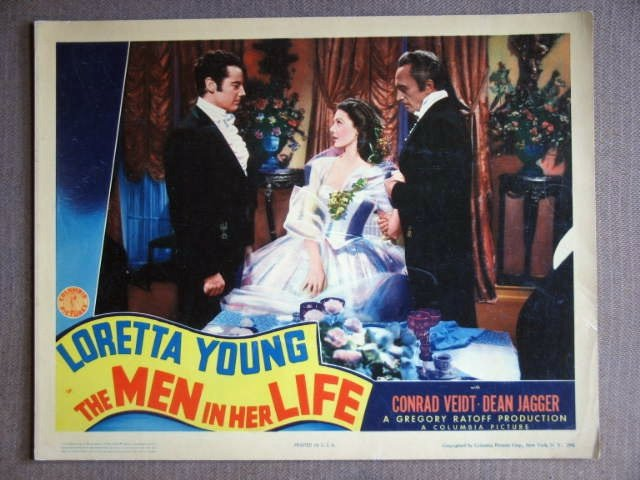 DX34 Men In Her Life LORETTA YOUNG Orig 1941 Lobby Card