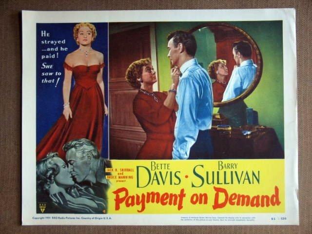 DX42 Payment On Demand BETTE DAVIS 1951 Lobby Card