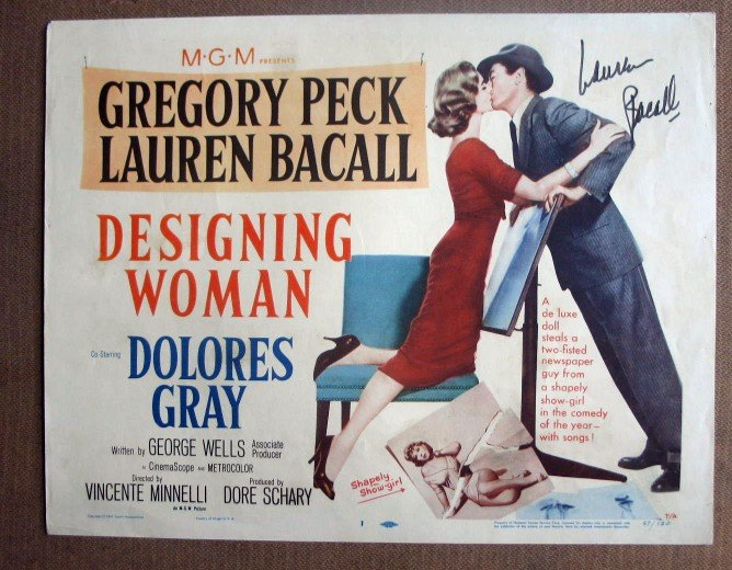 DK15 Designing Woman LAUREN BACALL Signed TC Lobby Card