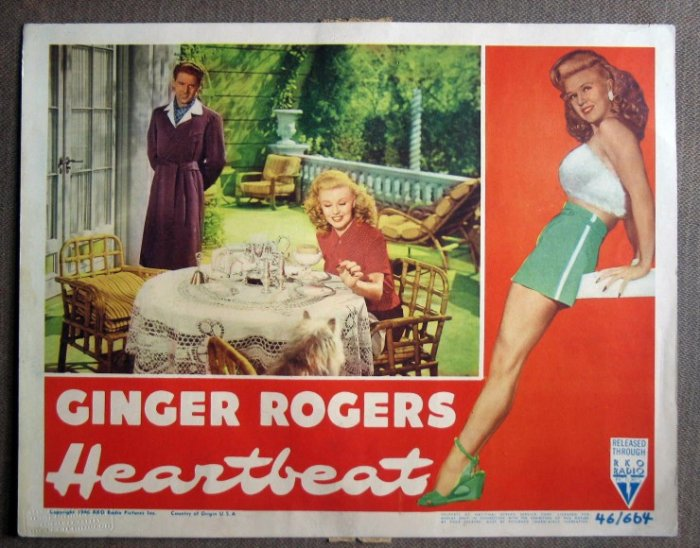 CV17 Heartbeat GINGER ROGERS/AUMONT 1946 Lobby Card