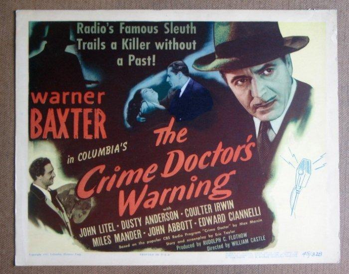 DD08 CRIME DOCTOR'S WARNING Warner Baxter '45 TC