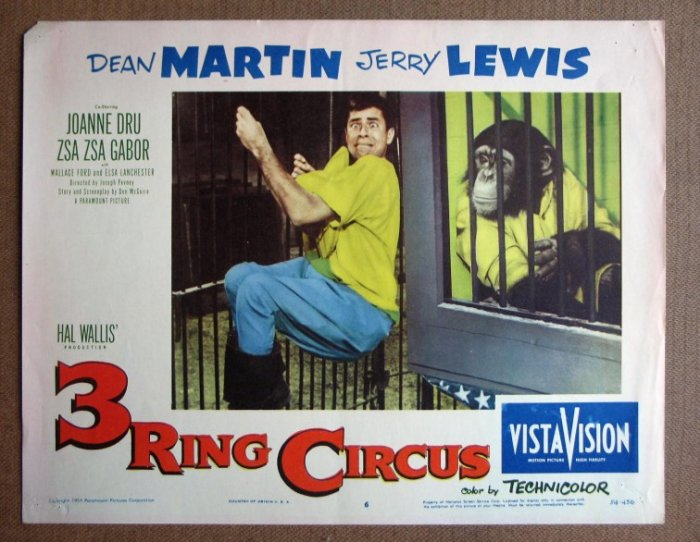 CZ44 3 Ring Circus JERRY LEWIS/DEAN MARTIN Lobby Card