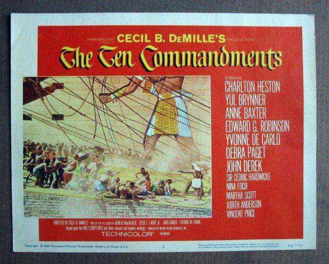 CU39A Ten Commandments CHARLTON HESTON '60 Lobby Card