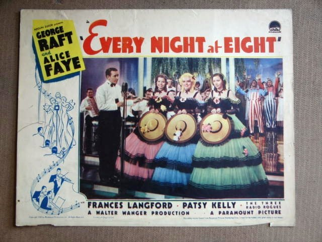 ED16 Every Night At 8 GEORGE RAFT/ALICE FAYE Lobby Card
