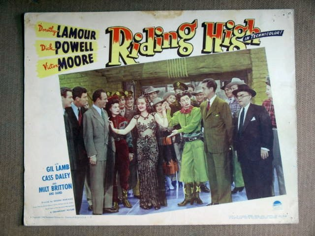 EE14 Riding High DOROTHY LAMOUR/CASS DALEY Lobby Card