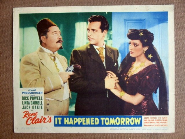 EI14 It Happened Tomorrow '44 POWELL/DARNELL Lobby Card