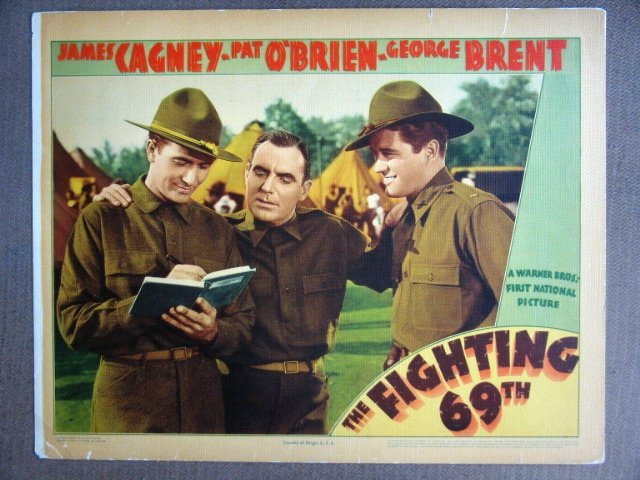 EJ16 Fighting 69th JAMES CAGNEY/PAT O'BRIEN Lobby Card