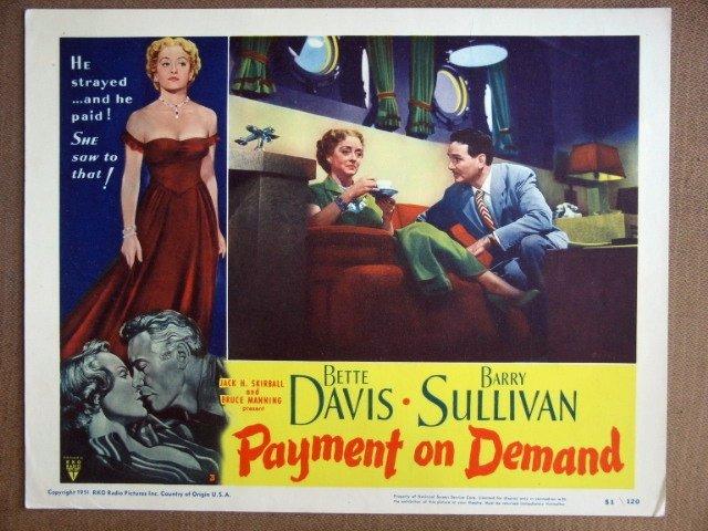 EK31 Payment On Demand BETTE DAVIS 1951 Lobby Card