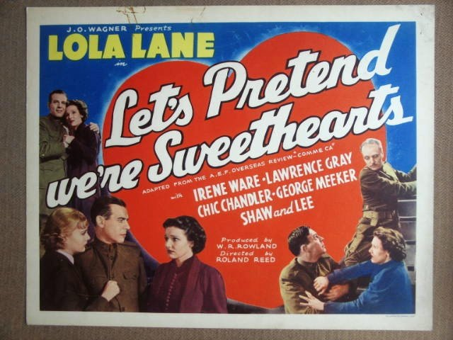 EX27 Let's Pretend We're Sweethearts LOLA LANE Title Lobby Card