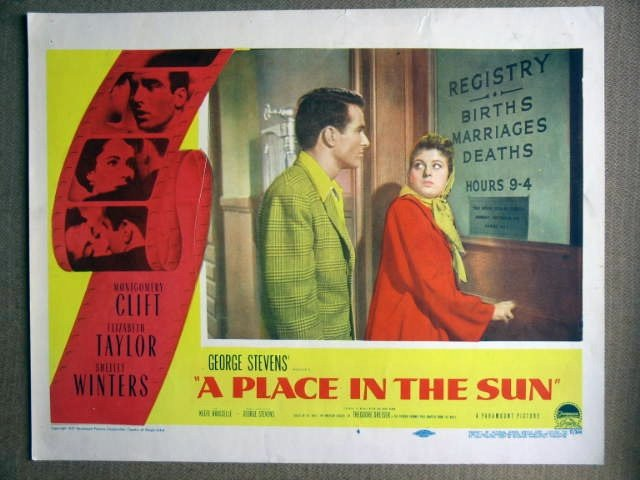 EX37 Place In The Sun MONTGOMERY CLIFT Lobby Card
